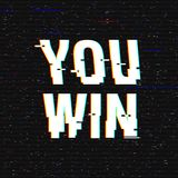 You win glitch text. Anaglyph 3D effect. Technological retro background. Vector illustration. Creative web template. Flyer, poster layout. Computer program Royalty Free Stock Images