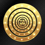 You win and golden circles royalty free illustration