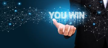You win in the hand of business. you win concept royalty free stock photos
