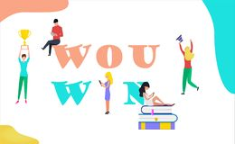 You win illustration concept with small people stock illustration
