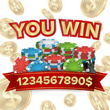 You Win. Jackpot Background Vector. Falling Explosion Gold Coins Illustration. Jackpot Prize Design. Poker Chips. Coins Royalty Free Stock Images