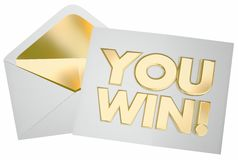 You Win Letter Envelope Message Contest Success. 3d Illustration Royalty Free Stock Photos