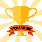 You win! Poster with prize cup royalty free illustration