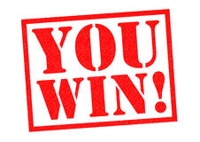 YOU WIN!. Red Rubber Stamp over a white background Royalty Free Stock Photos