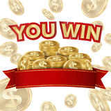 You Win Screen Isolated Vector. ackground For Online Casino, Gambling Club, Poker, Billboard. Royalty Free Stock Images