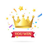 You Win Success Achievement Concept. Vector. You Win Success Achievement Concept with with Gold Crown and Ribbon Inscription. Vector illustration Stock Images