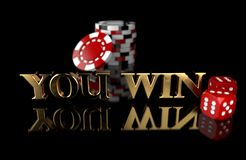 Gambling chips with dice on black background with reflection and the `YOU WIN` text royalty free stock photo