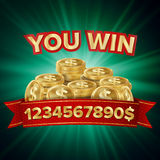 You Win Vector. Jackpot Background. Jackpot Sign With Gold Coins. Shining Banner Illustration. Royalty Free Stock Photography