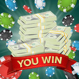You Win. Winner Background Vector. Gambling Poker Chips Lucky Jackpot Illustration. Big Win Banner. For Online Casino. Playing Cards, Slots, Roulette. Money Stock Photo