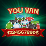 You Win. Winner Background Vector. Jackpot Illustration. Big Win Banner. For Online Casino, Playing Cards, Slots. Roulette. Poker Chips Royalty Free Stock Photography