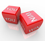 You Win - Words on Red Dice Royalty Free Stock Image