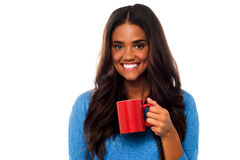 You woman enjoying her morning coffee Stock Photo