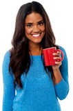You woman enjoying her morning coffee Royalty Free Stock Photography