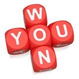 You Won. Crossword on white background 3d render stock illustration