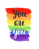 You are you badge. Gay pride poster. Rainbow spectrum flag, brush lettering. Homosexuality emblem. LGBT rights concept. Parade announcement banner, event stock illustration