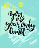 You are your only limit. Encouraging quote about fitness, challenges, work. Vector black calligraphy on blue geometry. Background with hand drawn strokes stock illustration
