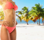 Youg attractive woman model in pink bikini. Royalty Free Stock Photography