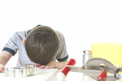 Youg boy frustrated by cooking Royalty Free Stock Photo