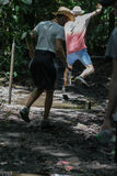 Youg boys are walking and jumping through the mud in the nature. stock photos