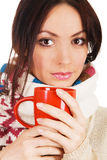 Yougn beautiful woman with a cup of tea Stock Images