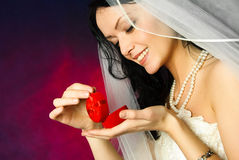 Yougn bride with a wedding ring Stock Photo