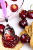 Yougurt cherries and jam Royalty Free Stock Photos