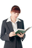 Youing cut business woman with notebook in hands Stock Photos