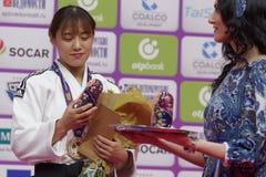 YouJeong Kwon, Κορέα με το χάλκινο μετάλλιο των παγκόσμιων κυρίων 2017 τζούντου Στοκ φωτογραφίες με δικαίωμα ελεύθερης χρήσης