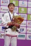 YouJeong Kwon, Κορέα με το χάλκινο μετάλλιο των παγκόσμιων κυρίων 2017 τζούντου Στοκ Φωτογραφίες