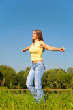 Youmg woman posing in park Stock Image