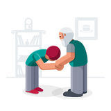Youn muslim man kissing parents hand. Young man kissing parent`s hand for traditional act of respect. This behavior is a tradition among Muslims stock illustration