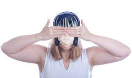 Youn woman in  a mask Stock Photos