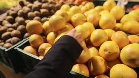 Yound caucasian woman buying fresh citrus grapefruits at supermarket. Consumerism, sale, organic and health care concept. Woman buying fresh citrus fruits stock video footage