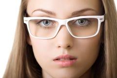 Yound Geschäftsfrau in der Glasnahaufnahme getrennt Lizenzfreies Stockbild