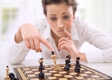 Young. Chess player losing a game royalty free stock photos