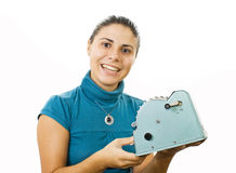 Young accountant lady. With obsolete computing machine Stock Photo