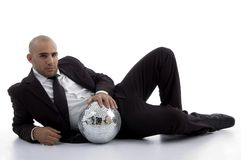 Young accountant posing with disco ball Royalty Free Stock Photography