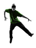 Young acrobatic break dancer breakdancing man silhouette. One  young acrobatic break dancer breakdancing man in silhouette white background Royalty Free Stock Photos
