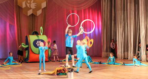 Young acrobats and jugglers Stock Images
