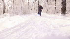Young active dad pulls son sledding in the Park. Dad running through the snow-covered path and pulling son on a sled in winter Park stock video footage