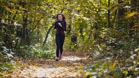 Young active female athlete exercising outdoor autumn park. Healthy women. Telephoto Stock Image