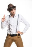 Young active hat and suspenders Royalty Free Stock Image