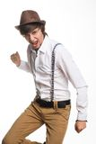 Young active hat and suspenders Stock Image
