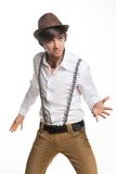 Young active hat and suspenders stock images