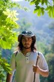 Young active man outdoors. Young active man enjoying hiking outdoors Royalty Free Stock Photo