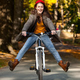 Young active people biking Stock Photography