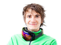 Young active skier with mask. Portrait of a young active man. Skier or snowboarder with sport mask. Isolated Stock Images