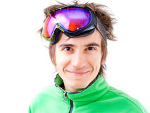 Young active skier with mask. Portrait of a young active man. Skier or snowboarder with sport mask. Isolated Royalty Free Stock Photo