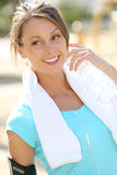 Young active woman with bottle of water Royalty Free Stock Image