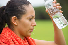 Young active woman fresh water in face Royalty Free Stock Image
